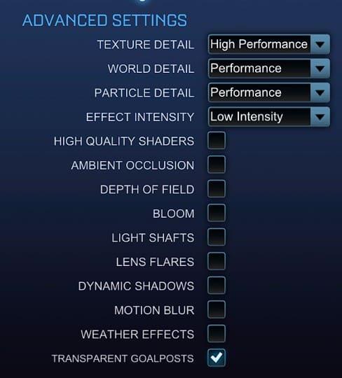 Best Graphics Rocket League settings, advanced settings