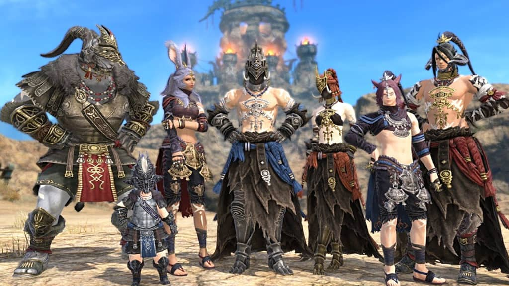 Seven FFXIV Characters lined up.