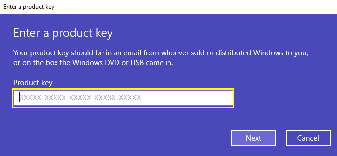 How to activate Windows 10 by entering a Windows 10 key. Step 2, entering the code.