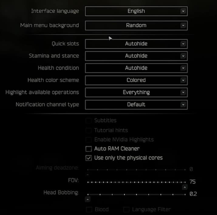 Best Game tab settings for Escape From Tarkov(EFT)