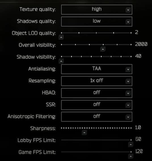 Best Graphics tab settings for Escape From Tarkov(EFT), part 2.