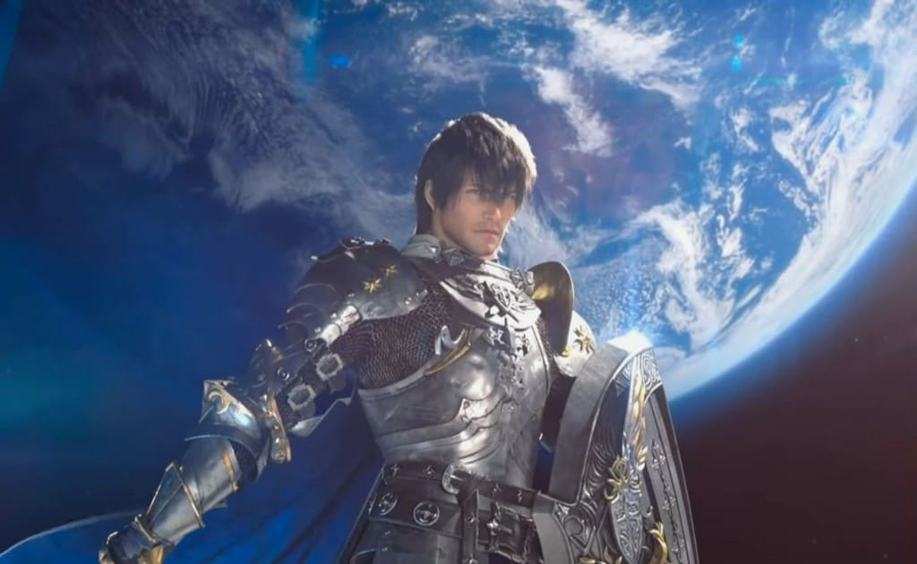 FFXIV Character that has the whole earth behind him.