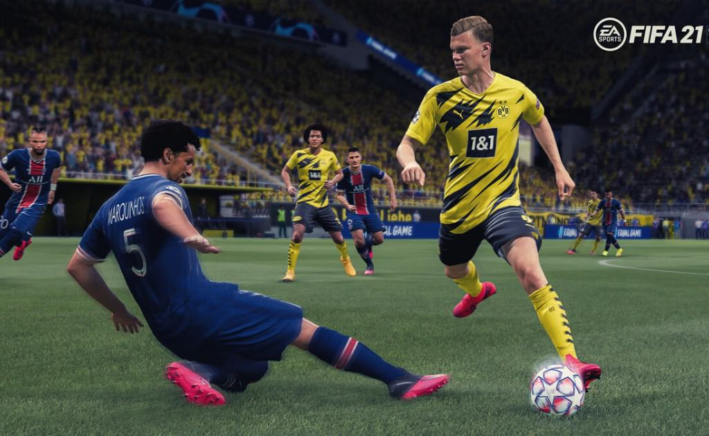 Fifa 21 match, player tackling another player.