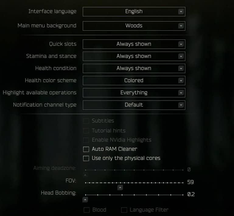 LVNDMARK's Game Settings in Escape from Tarkov EFT
