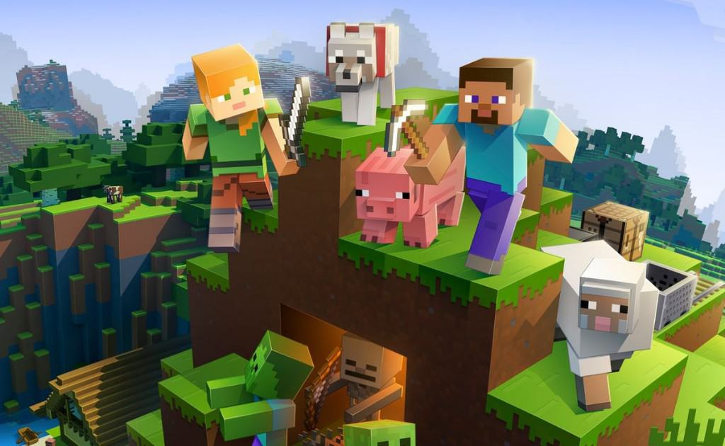 Minecraft in-game. Two players with one wolf and a sheep.