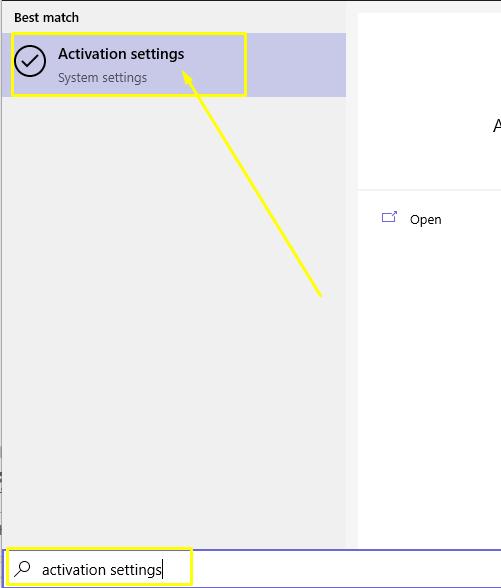 Activation settings on Windows 10