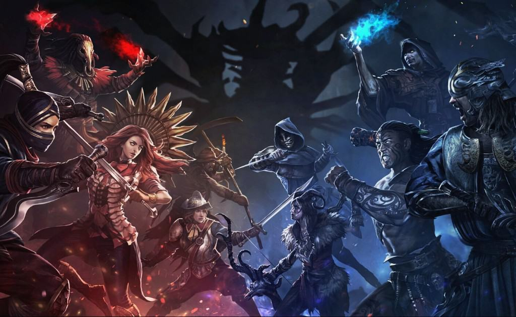 Path of Exile(PoE) photo with characters ready to fight.