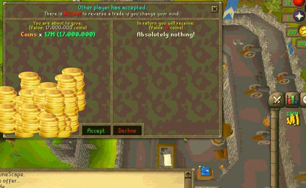 Runescape gold trading example either for OSRS or RS3.
