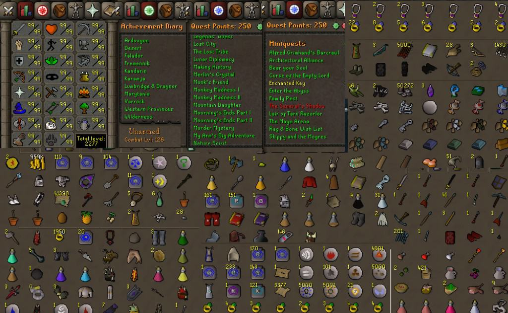 Runescape accounts with many items, gold, and skins—for example, for someone looking to purchase an account.