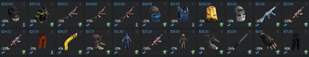 DMarket Rust skins availability and variety.
