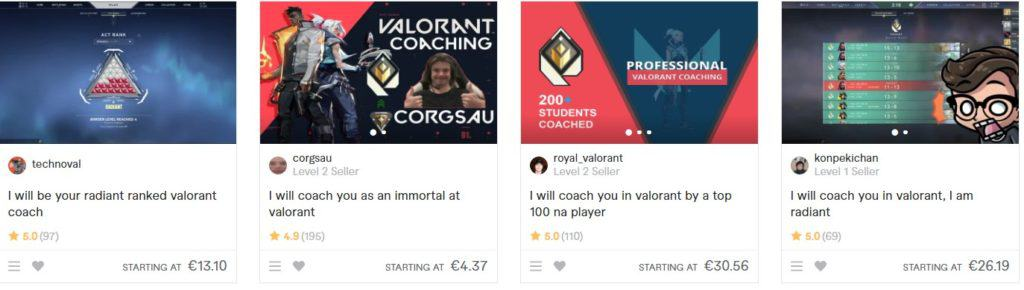 Valorant boosting services available on Fiverr
