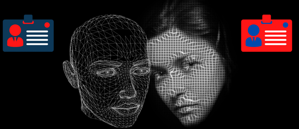 Two hologram faces with two identity cards on each side with different colors. Demonstrates the change of the information needed to bypass an IP/HWIDBan.
