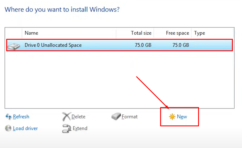 How to create a new partition while installing Windows 10