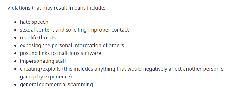 Minecraft Guidelines and reasons you can get banned.