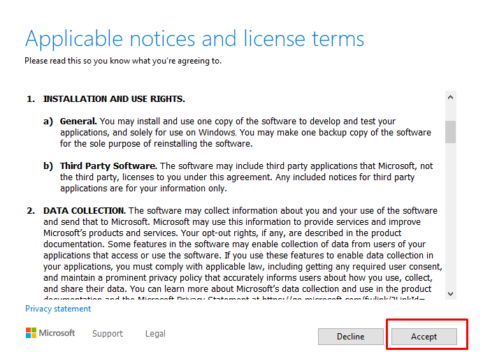 Accept license terms of Media Creation Tool