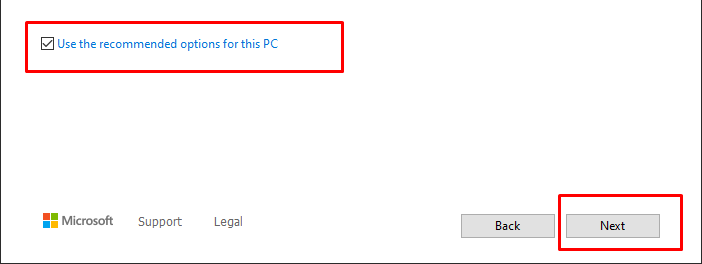 Use the recommended options for your PC.