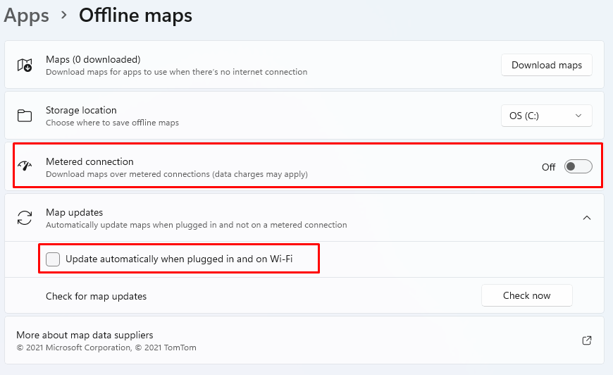 How to disable Offline Maps in Windows 11