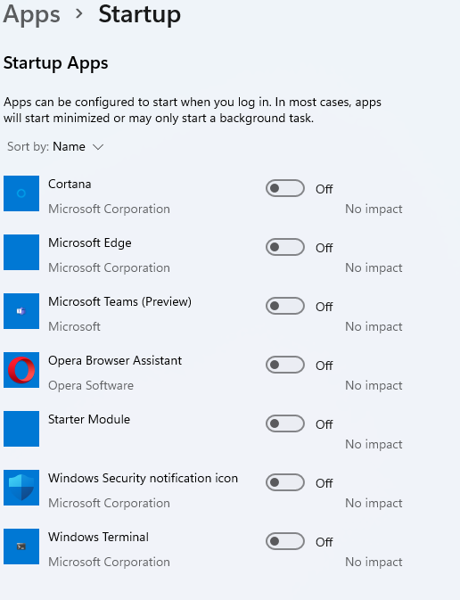 How to disable startup apps in Windows 11