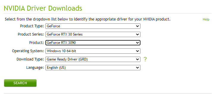 How the official download page for NVidia drivers looks like.