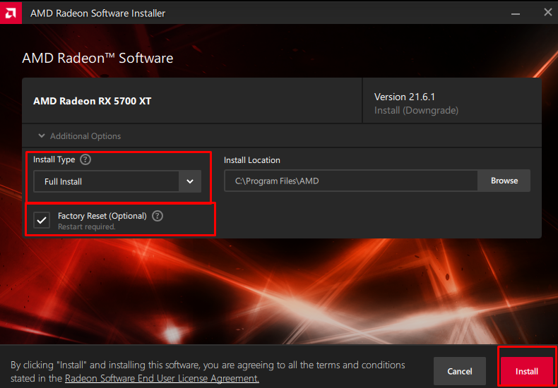 Installing AMD GPU Driver and configuring installation settings.