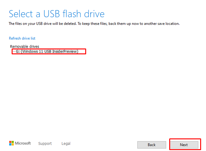 Select the actual USB STICK to install Windows 11 on.