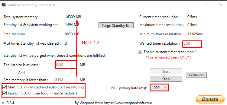 How to configure intelligent standby list cleaner for Windows 11 depending on your RAM size.