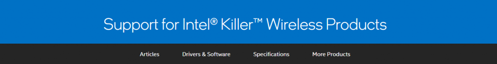 Intel official driver download page for Killer cards.