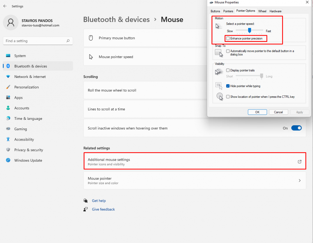 How to optimize mouse settings in Windows 11.
