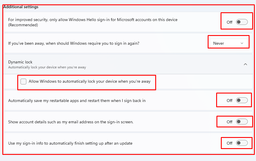 How to disable sign-in settings in Windows 11.