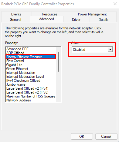 Optimizing Network drivers in Windows 11(part 2). Disabling Energy-Efficient Ethernet option.