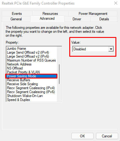Optimizing Network drivers in Windows 11(part 2). Disabling Power Saving Mode option.