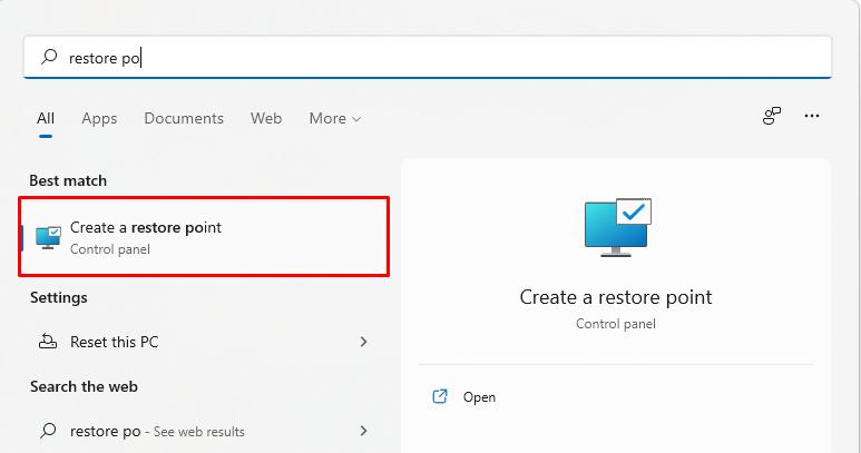 Create a restore point in Windows 11(1)