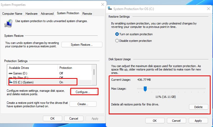 Create a restore point in Windows 11(2)