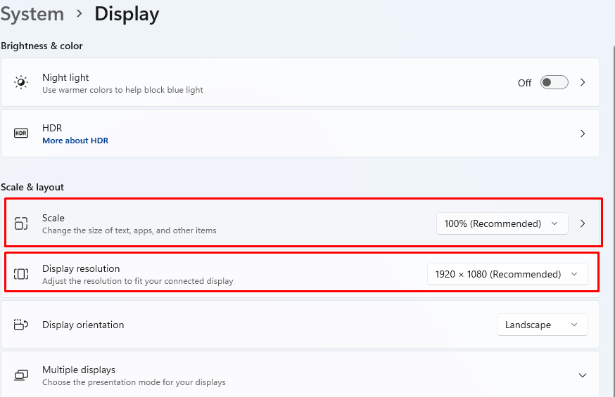 How to set scaling settings and display resolution settings in Windows 11.