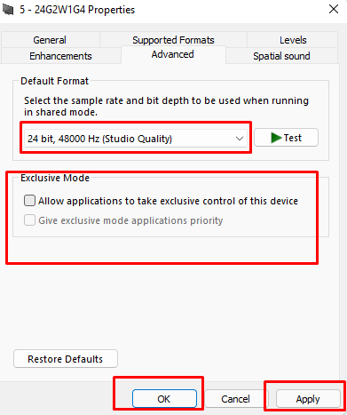 Best Sound settings for Windows 11.(3)