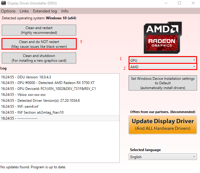 How to uninstall graphic card's driver in Windows 11 using display driver uninstaller(DDU). final step